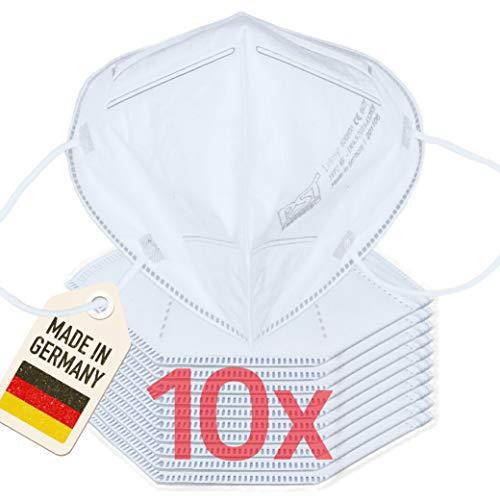 10er Pack 4-lagige FFP2 Maske Mundschutz   in Deutschland hergestellt   CE zertifizierter Mund und Nasenschutz, CE0477   Atemschutzmaske Staubmaske Atemmaske Staubschutzmaske Mundschutzmaske