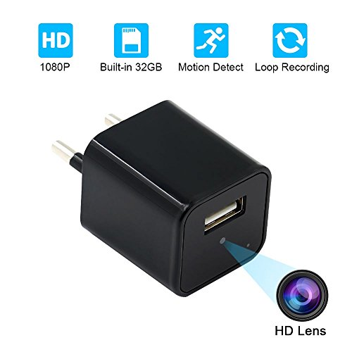 USB Wall Charger Cámara Espía,UYIKOO HD 1080P Ocultos Cámara with 32GB Internal Memory Nanny Camera for Home/Office Surveillance