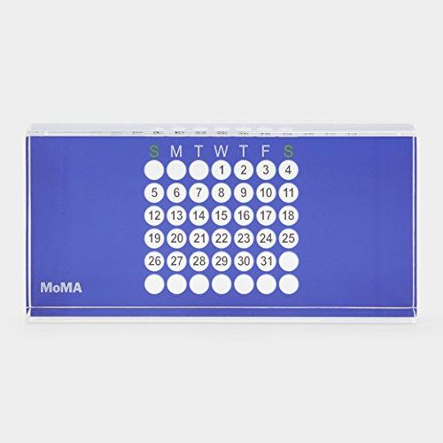 MoMA ewiger Kalender Design Tischkalender, Acryl, blau