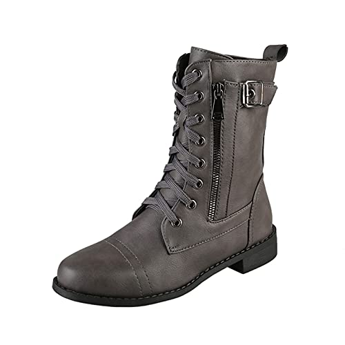 Xiand Stiefeletten Damen lässige wasserdichte Kurzschaft Boots mit Reißverschluss Bequem Atmungsaktiv Boots Herbst Knöchel Stiefel Outdoor Mode Stiefel Ankle Boots