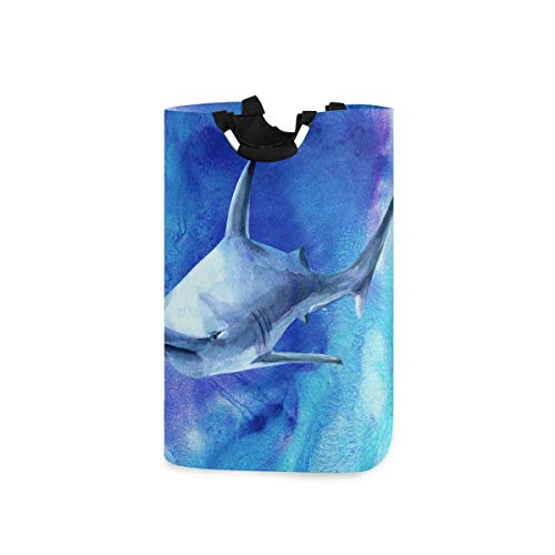 Lmuchen Laundry Hamper Watercolor Sea Animal Shark Storage Basket Portable Dirty Clothes Laundry Bag with Handles Large Washing Bin for Home Bathroom Bedroom