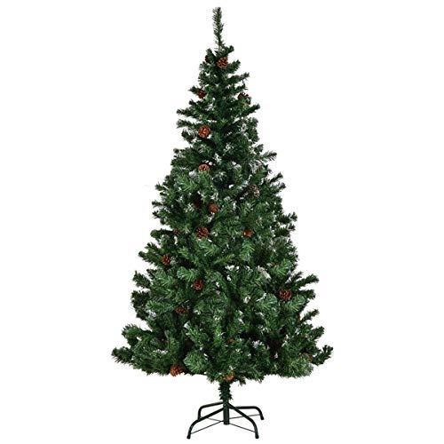Costway Albero di Natale, Abete Artificiale con Supporto in Ferro con Decorazione di Pigne, 150/180 / 210 cm (210 cm)