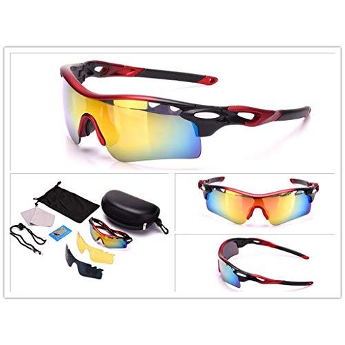 Minamoto Chisei Gafas de Sol Conjuntos Lentes con Espejo Tonos de conducción Anchos Ciclismo Gafas Deportivas for Hombre YANJI 0809 (Color : Matte Red)