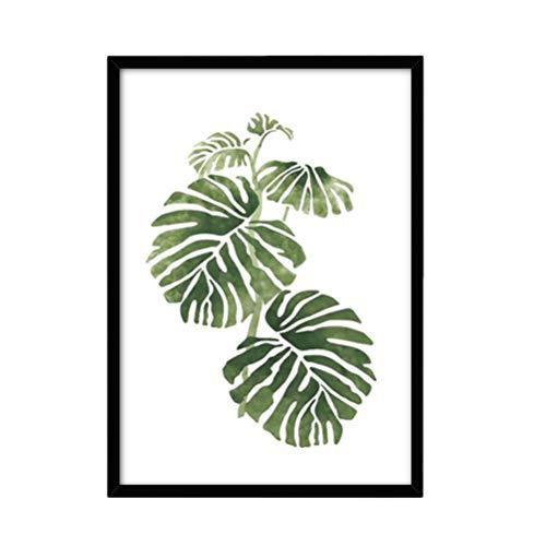 HEALLILY Pintura Nórdica de La Hoja Pintura Enmarcada Impresiones de La Hoja Verde Cuadros Planta Arte Carteles Arte de La Pared Decoraciones para Dormitorio Sala de Estar