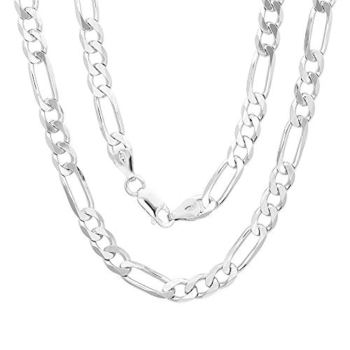 Authentic Solid Sterling Silver Figaro Link .925 ITProLux Necklace Chains 2MM - 10.5MM, 16\' - 30\', Silver Chain for Men & Women, Made In Italy, Next Level Jewelry