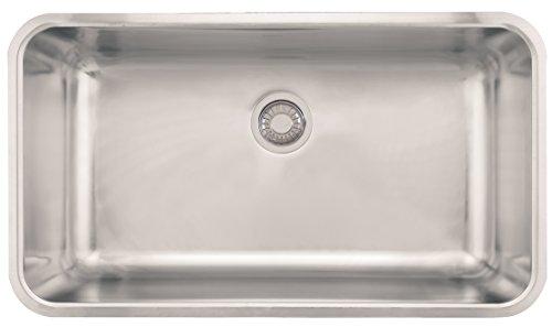 """Franke GDX11031 Grande 32 3/4"""" x 3/4"""" x 9"""" 18 Gauge Undermount Single Bowl Stainless Steel Kitchen Sink, 3/4-inch"""