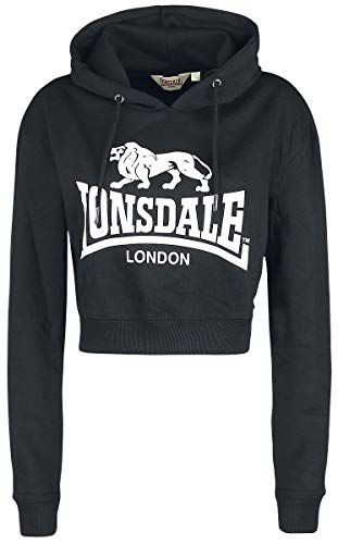 Lonsdale Women Hoodie Cropped Roxeth, Talla:L, Color:Black