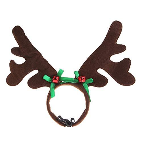 JSFGFSDH Diadema de Navidad para mascotas con cuerno de ciervo, disfraz de perro, cachorro, gato, producto de fiesta