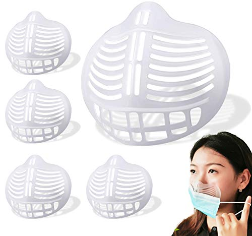 Face Mask Inner Support Frame Homemade Cloth Clear Mask Cool 3D Silicone Bracket More Space for Comfortable Breathing Washable Reusable, 5pcs