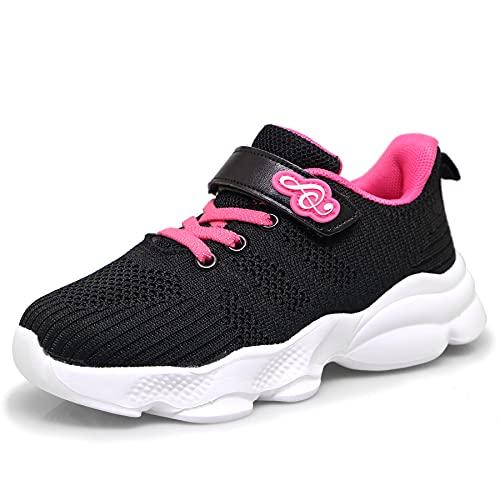 Denidou Zapatillas deportivas para niña, para interiores, para correr, etc., Negro , 28 EU