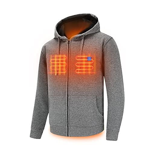 Full Zip Fleece Jacket Hooded Sweatshirt Heated Hoodies with Battry Pack, Grey Large (Unisex)