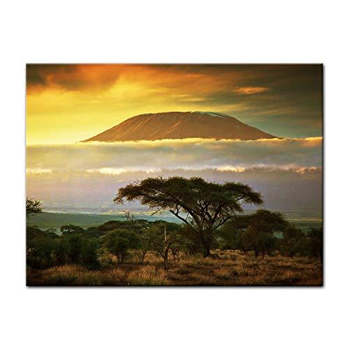 Fotobehang - Kilimanjaro met Savanna in Kenia - Afrika - Foto op doek - Canvas Art - Landschappen - Tanzania - Nationaal Park - Zonsondergang,60 * 40cm
