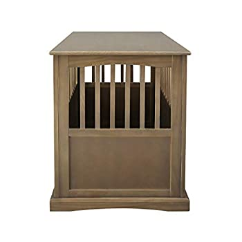 Casual Home Large Wooden Indoor Pet Crate Dog House Kennel End Table Night Stand Furniture Taupe Gray