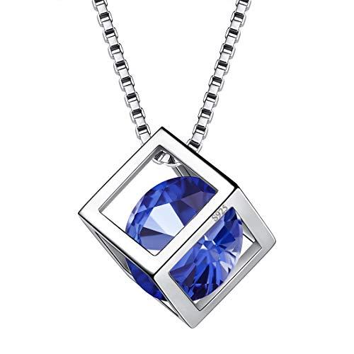 AuroraTears September Birthstone Halskette 925 Sterling Silber Blue Sapphire Square Birth Stone Anhänger Schmuck Geschenke für Frauen und Mädchen DP0028S