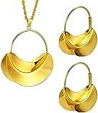 TTDAltd Color Dorado Cobre Senegal geométrico PNG Bolso Collar Pendientes Colgantes Conjuntos de Joyas para Mujeres Regalos de Fiesta Africana Longitud 45 cm
