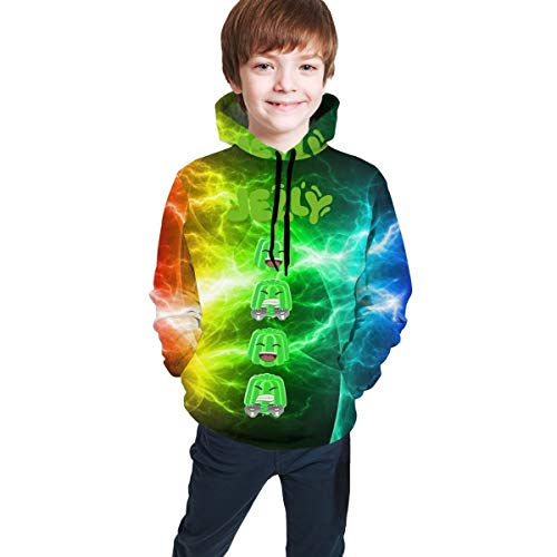 Meeting Double-Sided Printed Sweathirts Unisex 6-16 Years Cute Pretty Cartoon Crazy-Jelly Handsome Boys Hoodie Youtuber-07 XL(18-20)