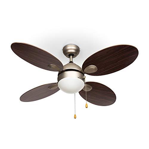 Klarstein Valderama plafondventilator met verlichting (4 rotorbladen, stil lopend, 106cm diameter, plafondlamp, 2 x 43 watt, 3 snelheden, body van geborsteld nikkel) donkerbruin