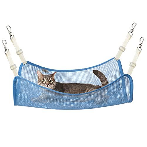 Metglad 猫 ハンモック 調節可能 大きい ペット用 メッシュハンモック 春夏仕様 通気性抜群 強度アップ 丸洗い 大きい超軽量 取り付け簡単 日向ぼっこ 遊び場 キャット寝床 小動物用 ブルー L