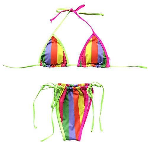 Mujeres Bikini Kit de trajes de baño Buen vistazo Caramelo Colores Traje de baño Sexy Vista de ángulo ecológico Dos piezas Ropa de playa Tops Tops Traje de baño para alquiler vacaciones de Play