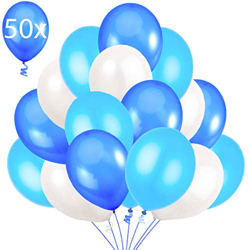Jonami 50 Luftballons Blau Weiß Hellblau Ballon Premiumqualität 36 cm Partyballon Deko Babyblau Himmelblau Dunkelblau 3,2g. Dekoration fur Geburtstags, Baby Shower, Baby Dusche Party