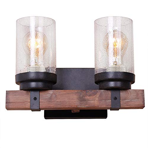 Anmytek Wall Lamp Wooden Wall Light Wall Sconce Fixture with Bubble Glass Shade (Two Lights)