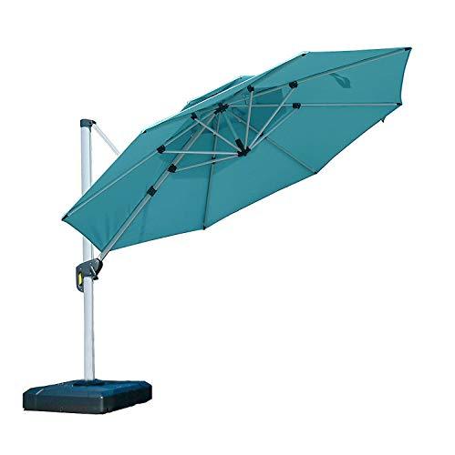 PURPLE LEAF 11 Feet Double Top Round Deluxe Patio Umbrella Offset Hanging Umbrella Outdoor Market Umbrella Garden Umbrella, Turquoise Blue