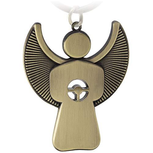 FABACH Schutzengel Schlüsselanhänger Pikto mit Lenkrad - Edler Engel Anhänger aus Metall in mattem Bronze - Geschenk Glücksbringer Auto Führerschein - Fahr vorsichtig