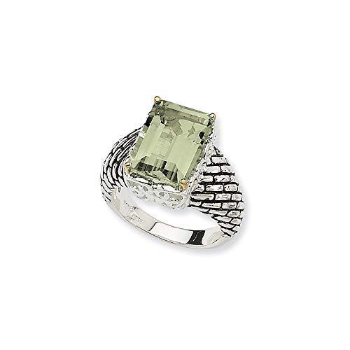 Plata de ley 925 con anillo de amatista verde de 14 quilates 6.80 tamaño L 1/2 joyería regalos para mujeres