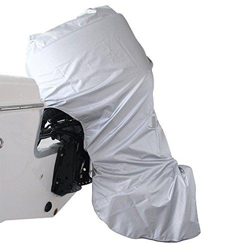 wellenshop Außenborder-Schutzhülle 2,5-10 PS 190 x 100 x 45 cm Polyester Silber Motor-Abdeckung Motor-Hülle Plane Boot