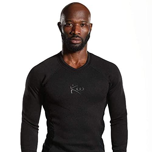Kutting Weight Sauna Suit Long Sleeve Shirt (Medium, Black on Black)