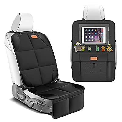 Smart eLf Car Seat Protector + Backseat Car Organizer Kick Mat, Large & Waterproof 600D Fabric Child Auto CarSeat Protectors Saver for Baby Sit with Storage Pockets for Leather and Fabric Car Seat by Smart eLf