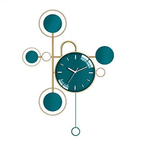 N / A Orologio da Parete 24 Pollici, Moderno ed Elegante Mute Alien Wall Sticker Orologi, for la Decorazione di Cucina Soggiorno Camera da Letto Ufficio Ampio Orologio Appeso, Metallo, Blu