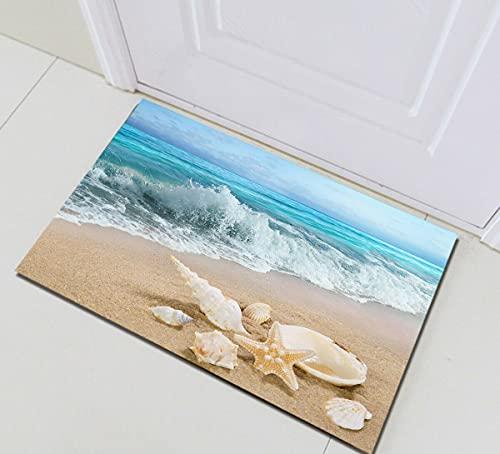 Océano playa estrella de mar concha concha interior antideslizante puerta estera, alfombra de baño, patrón de alta definición 45* 75cm, decoración casera