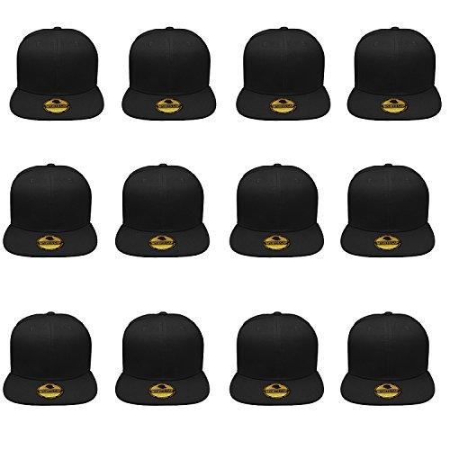 Gelante Plain Blank Flat Brim Adjustable Snapback Baseball Caps Wholesale LOT 12 Pack - 1500-Black