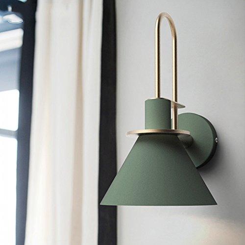 Slaapkamer Armaturen Nordic Postmodern Designer Zwart/wit/groen Iron Horn lampenkap Wandlamp Trap van de Woonkamer Aisle Slaapkamer Nachtlampjes Gouden Bocht E27 Muurlamp Diameter: 18cm Wandlamp V