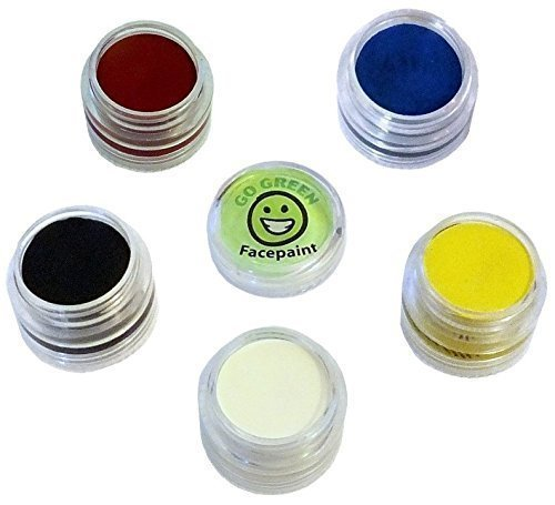 Go Green Face Paint - 5 Color Certified Organic Kit for Kids - The Safest Set for All Skin Types - Resealable and Reusable - Great for Halloween- 36 Month Shelf Life