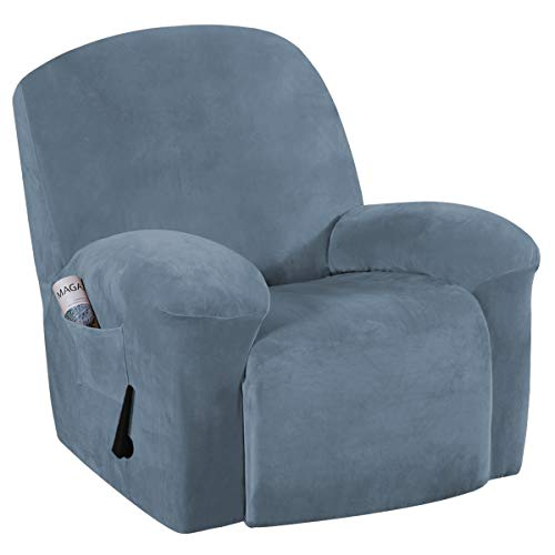Stretch Recliner Slipcovers Recliner Chair Cover Sofa Furniture Cover 1-Piece Modern Rich Velvet Plush Form Fit Stylish Protector Feature Rich and Soft Fabric (Recliner, Stone Blue)