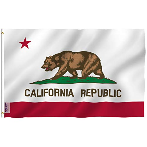 Anley Fly Breeze 3x5 Foot California State Flag - Vivid Color and Fade Proof - Canvas Header and Double Stitched - Calif. CA Flags Polyester with Brass Grommets 3 X 5 Ft
