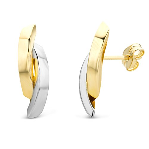 Miore Schmuck Damen Ohrstecker mit bicolor Design Ohrringe aus Gelbgold und Weißgold 14 karat / 585 Gold