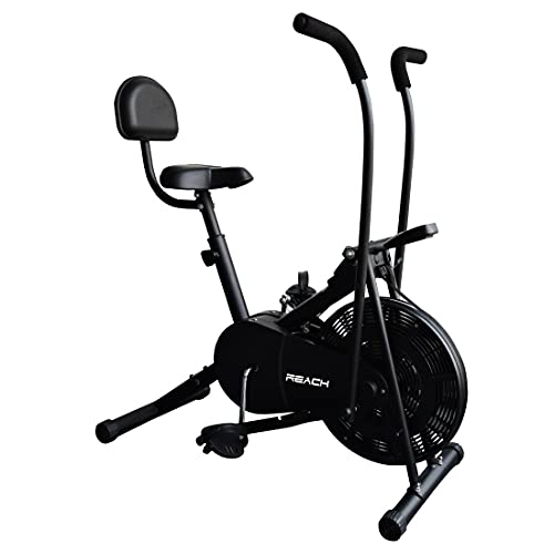 Reach AB-110 Air Bike Exercise Fitness Cycle with Moving or Stationary Handle Adjustments for Home -...