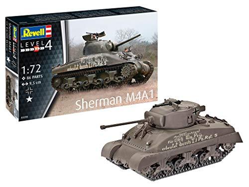 Revell 03290 Sherman M4A1, Panzermodellbausatz 1,72 originalgetreuer Modellbausatz für Fortgeschrittene, unlackiert