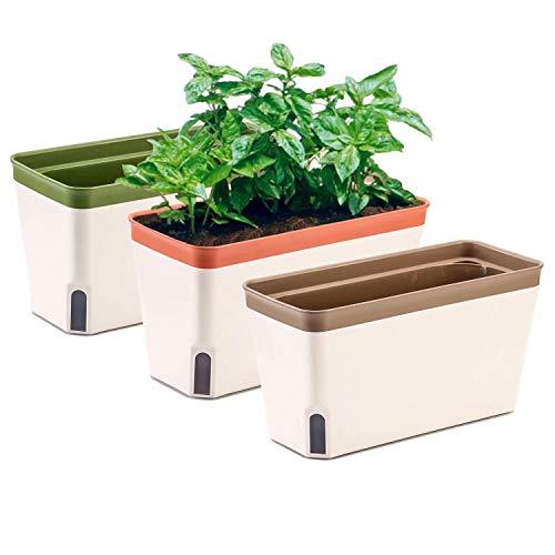 Vaso per fioriera per davanzale, set di 3, giardino interno rettangolare autoirrigante per cucine, coltivazione di piante, fiori o piante grasse, grande serbatoio d acqua