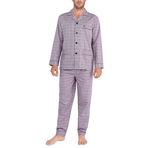 El Búho Nocturno - Pijama Hombre Largo Solapa Popelín Cuadros Violeta 100% algodón Talla 3 (M)