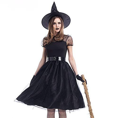 Canifon Damen Halloween Grusel Maxikleid Damen Geist Braut Zombie Blutig Kleid Vampir Teufel Kostüm Ball-Party Kleid Hut Gürtel Handschuhe Passen