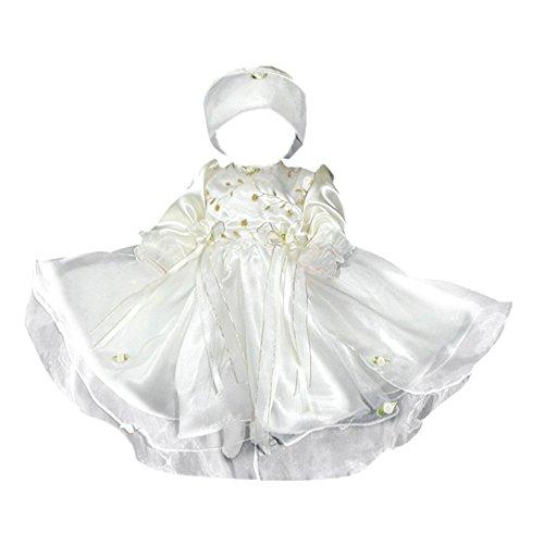 Sommer Kleid für die Taufe, Hochzeit und alle anderen Anlässe, Taufkleid für Baby, Taufkleidung für Babys, Kleidchen für Mädchen L01 Gr. 68-86, Wei, 68/74