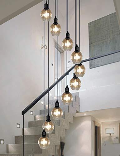 BDS lighting Retro múltiples Bolas de Vidrio Escalera araña Espiral Moderno Luces Colgantes para Villa araña dúplex Escalera Larga araña E27 LED, de Gran tamaño (Tamaño : 10 Balls)