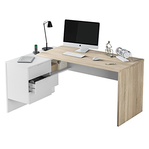 Habitdesign 0F4655A - Mesa Office, Mesa despacho Ordenador Modelo BUC 3 cajones, Color Blanco Artik...