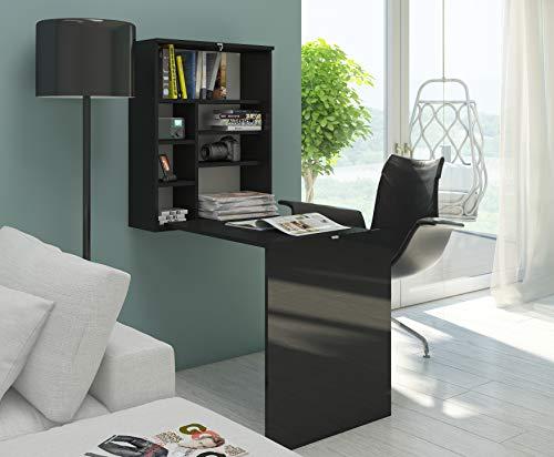BIM Furniture, Hide, bureau, wandplank, klaptafel, computertafel, laptoptafel modern Zwart mat/zwart hoogglans