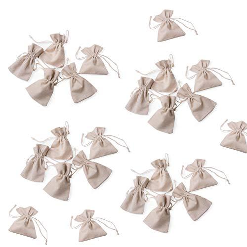 24pezzi piccolo tela sacchetto di tessuto di organza gioielli sacchetto regalo sacchetto di cotone beige natura Crema di colori Calendario dell' Avvento da Creare e Usare come Confezione per regali