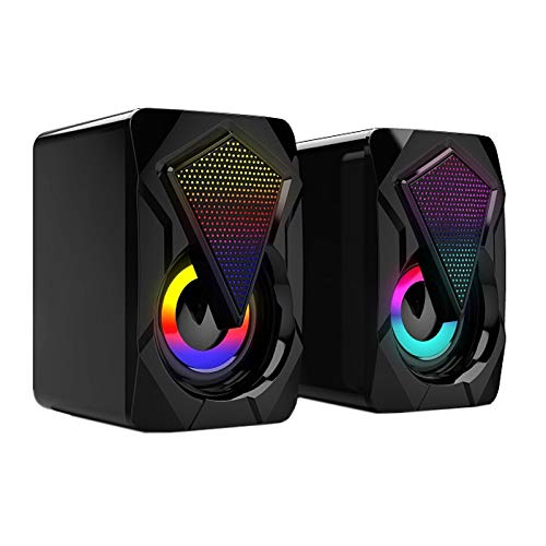 Timagebreze Computer Speakers RGB Desktop USB Audio Desktop Laptop USB 3.5 Mobile Desktop Multimedia Bass 2.0 Speakers